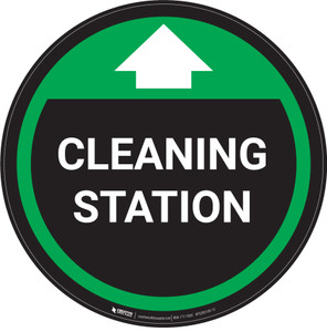 Cleaning Station With Arrow Green - Circular - Floor Sign