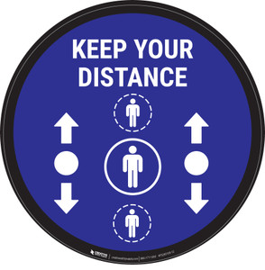 Keep Your Distance With Social Distance Dots Blue - Circular - Floor Sign