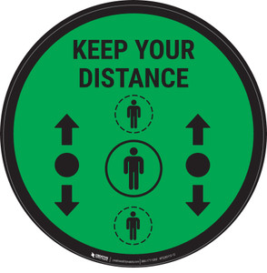 Keep Your Distance With Social Distance Dots Green - Circular - Floor Sign