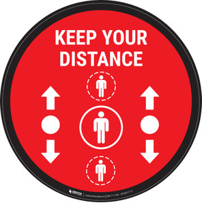 Keep Your Distance With Social Distance Dots Red - Circular - Floor Sign