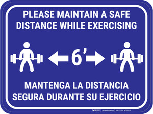 Maintain Safe Distance While Exercising Bilingual Blue - Rectangular - Floor Sign