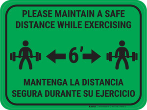Maintain Safe Distance While Exercising Bilingual Green - Rectangular - Floor Sign