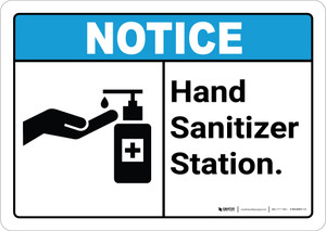 Notice ANSI Hand Sanitizer Station Landscape - Wall Sign