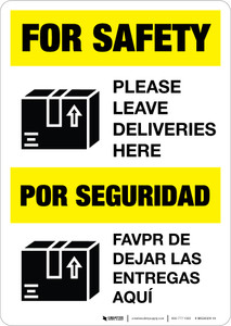 For Safety Leave Deliveries Here Portrait - Wall Sign