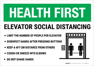 Health First: Elevator Social Distancing Landscape - Wall Sign