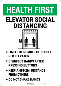 Health First: Elevator Social Distancing Portrait - Wall Sign