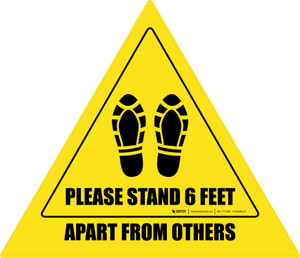 Please Stand 6 Feet Apart From Others Shoe Prints Triangle