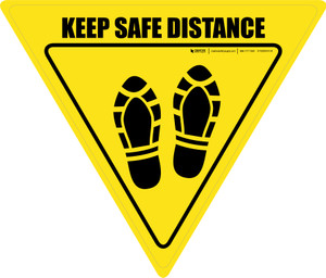 Keep Safe Distance Shoe Prints Yield - Floor Sign
