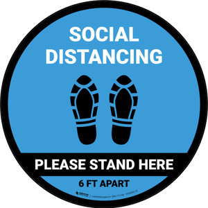 Social Distancing Please Stand Here 6 Ft Apart Shoe Prints Blue Circular - Floor Sign