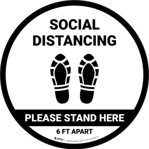 Social Distancing Please Stand Here 6 Ft Apart Shoe Prints Circular - Floor Sign