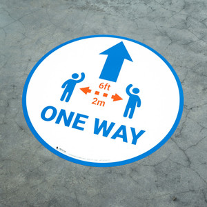 One Way Sign Icon Blue - Floor Sign