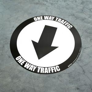 One Way Traffic - Down Arrow Black - Floor Sign