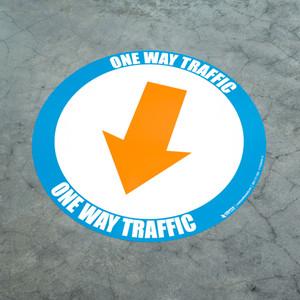 One Way Traffic - Down Arrow Orange - Floor Sign