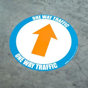 One Way Traffic - Up Arrow  Orange - Floor Sign