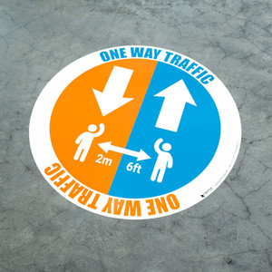 One Way Traffic - Arrows with Icon - Floor Sign