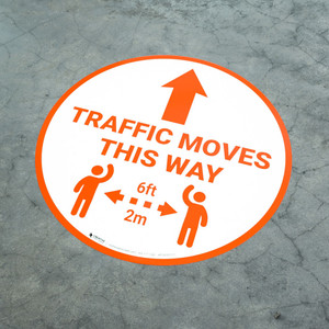 Traffic Moves This Way - Arrow with Icon Orange - Floor Sign