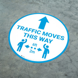 Traffic Moves This Way - Arrow with Icon Blue - Floor Sign