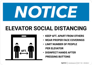 Notice: Elevator Social Distancing Rules with Icon Landscape - Wall Sign
