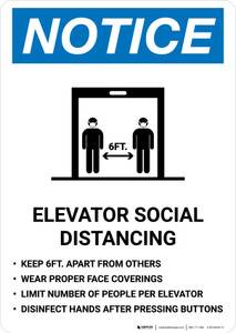 Notice: Elevator Social Distancing Rules with Icon Portrait - Wall Sign