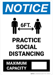 Notice: Practice Social Distancing - Max Capacity with Icons Portrait - Wall Sign