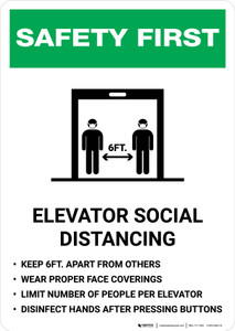 Safety First: Elevator Social Distancing Rules Portrait - Wall Sign