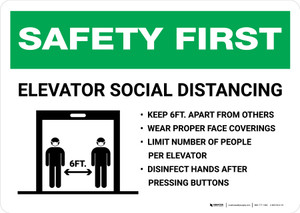 Safety First: Elevator Social Distancing Rules Landscape - Wall Sign