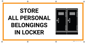 Store All Personal Belongings In Locker with Icon - Banner