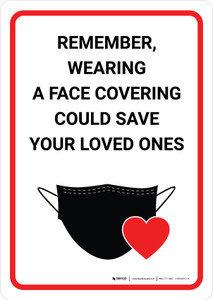 Remember Wearing a Face Covering Could Save your Loved Ones - Wall Sign