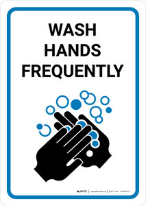 Wash Hands Frequently with Icon Portrait - Wall Sign