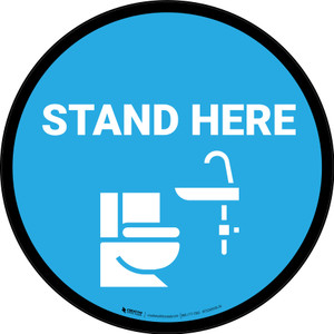 Stand Here Bathroom Icon Circle - Floor Sign