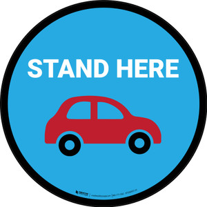 Stand Here Pick Up Icon Circle - Floor Sign