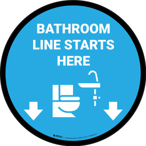 Line Starts Here Bathroom Icon Circle - Floor Sign