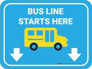 Bus Line Starts Here Rectangle - Floor Sign
