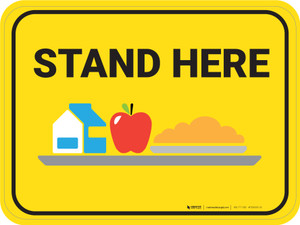 Stand Here Lunch Icon Rectangle - Floor Sign