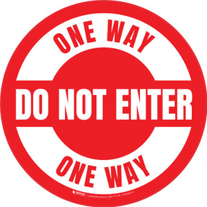 Do Not Enter One Way Circular (Red/White) - Floor Sign