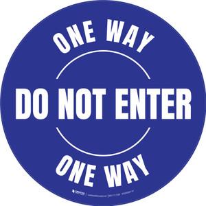 Do Not Enter One Way Circular (Blue) - Floor Sign