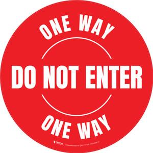 Do Not Enter One Way Circular (Red) - Floor Sign