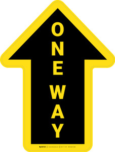 One Way Arrow Yellow (Straight) - Floor Sign