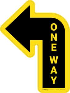 One Way Arrow Yellow (Left) - Floor Sign