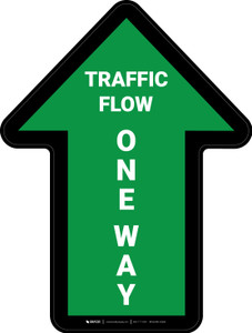 Traffic Flow One Way Arrow Green (Straight) - Floor Sign