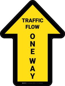 Traffic Flow One Way Arrow Yellow (Straight) - Floor Sign