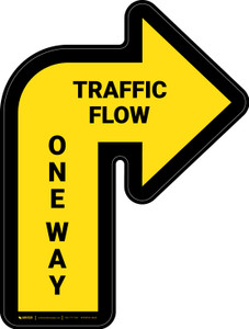 Traffic Flow One Way Arrow Yellow (Right) - Floor Sign