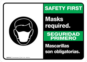 Safety First: Masks Required Bilingual with Icon Landscape - Wall Sign