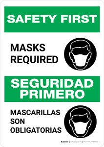 Safety First: Masks Required Bilingual with Icon Portrait - Wall Sign