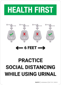 Health First: Practice Social Distancing While Using Urinal 6 Feet with Icon Portrait - Wall Sign