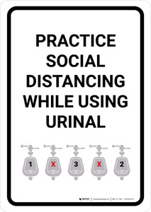 Practice Social Distancing While Using Urinal with Icon Portrait - Wall Sign