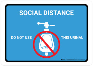 Social Distance: Do Not Use This Urinal with Icon Blue Landscape - Wall Sign