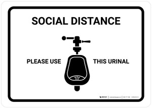 Social Distance: Please Use This Urinal with Icon Landscape - Wall Sign