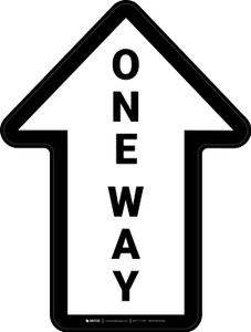One Way White Arrow (Straight) - Floor Sign
