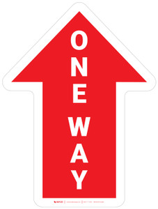 One Way Arrow Red (Straight) - Floor Sign